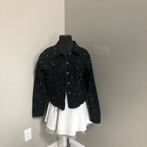 Paris blues Black denim faux pearl Jacket large
